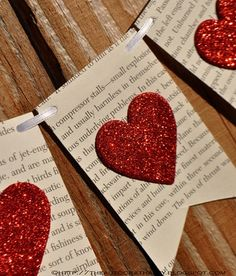 Book pages, string, heart punch, craft paper, glue. - Valentine's Day - Welcome Crafts Valentines Day Decorations, Valentine Day Crafts, Be My Valentine, Holiday Crafts, Christmas Diy, Kids Valentines, Christmas Carol, Christmas Decorations, Walmart Valentines