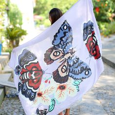 Fashion Women Spring and Summer Scarf Owl/Butterfly Printed Shawls And Scarves Twilly Cotton Scarf Beach Cover Up Pashmina Shawl