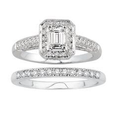 14K White Gold Emerald Cut Vintage Wedding Set.    http://www.thediamondstore.com/products/engagement-rings/14k-white-gold-vintage-wedding-set-%7C-ash24942m/6-709