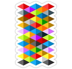 Modern bright funky colorful triangles pattern sticker by #PLdesign #geometric #modern #ColorfulTriangles #redbubble