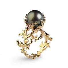 CORAL Tahitian Pearl Ring Black Pearl Engagement Ring Gold