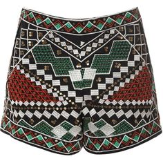 Green And Red Embellished Shorts (€33) ❤ liked on Polyvore featuring shorts, bottoms, pants, multi, embellished shorts, cotton shorts, high-waisted shorts, high waisted sequin shorts and red shorts