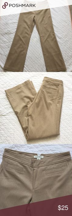 Banana Republic Wool Cashmere Pants Sz 2 Banana Republic Tan Work Pants. Harrison Fit. Size 2. EUC. 68% wool, 20% nylon, 10% cashmere & 2% Lycra for the perfect bit of stretch. Amazing quality, fully lined. Flat front. Waist measures 15 inches across. Inseam is 32 inches. Rise is 8.25 inches. Leg opening is 10.25 inches across. Banana Republic Pants Trousers