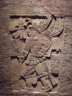 The Sak Tzi Lintel Stela showing armed ruler with jaguar skin jerkin Mexico Late Classic Maya 864 CE Limestone Mayan History, Ancient History, Maya Civilization, Inka, Aztec Art, Mesoamerican, Mexican Art, Ancient Aliens, Ancient Artifacts