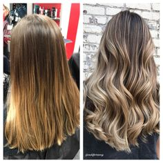Before and after cool blonde balayage transformation by @askforamy