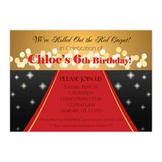 Red Carpet Invitation   Sparkling Gold, Black And Red, Elegant Red Carpet  Event Personalized. GeburtstagsfeiernEinladungRed Carpets