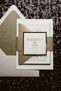 KRISTIN Suite Glitter Package, gold glitter wedding invitations, bling wedding invitations, letterpress wedding invitations, ivory and gold wedding