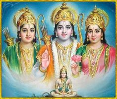Rama, Sita, Hanuman and Laxsmana. Hindu God and Goddess. Avatars of VIshnu and Laxshmi. Shiva Hindu, Hindu Deities, Hindu Art, Krishna Painting, Krishna Art, Hare Krishna, Ram Ji Photo, Lord Sri Rama, Ganesh Photo