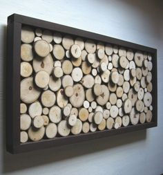 Rustic Wood Slice Sculpture,Wall Art or Headboard. Now I know what to do with all of the wood in our shed from when a tree in our yard fell down last spring!
