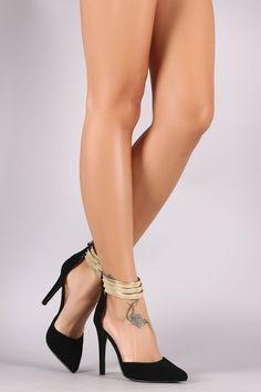 Metallic Ankle Cuff Stiletto Pump Black, C$45.99