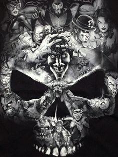 DC Comics- Batman Villains- Joker Harley Quinn- Licensed Adult T-Shirt -Black