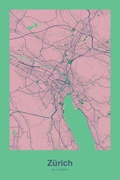 Zurich, Switzerland Map Print