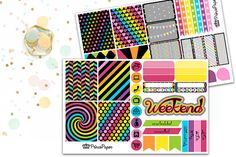Planner Sticker Weekly Kit Neon Rainbow for your Erin Condren Life Planner, Plum…