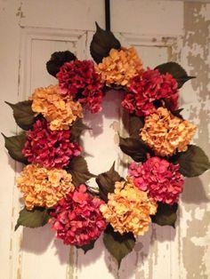 Front Door Wreath Hydrangeas Porch decoration by designing2inspire