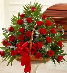 Sincerest Sympathies Rose Fireside Basket - Red