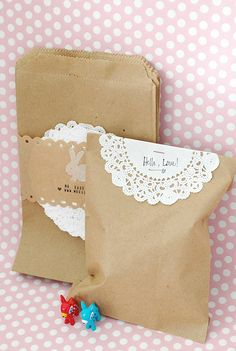Paper bag and doily