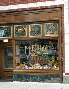 Shop window of an old pharmacy (Merz Apothecary) founded in 1875 by immigrants from Germany, in Lincoln Square neighborhood of Chicago, IL