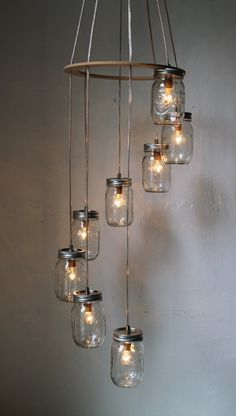 Spiral Mason Jar Chandelier, Rustic Hanging Pendant Lighting Fixture, 8 Clear Jars, Modern BootsNGus Lighting & Home Decor, Bulbs Included - Wedding Home Decoration