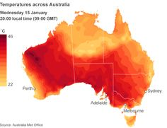 """Soaring temperatures halt matches at the Australian Open tennis tournament, as a report warns that the country will see """"hotter and longer"""" heatwaves. Australian Open Tennis, Heat Map, Tennis Tournaments, World, Painting, Image, News, Art, Art Background"""