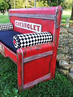 53 Chevy Bench made from an old wooden bed frame! Nothing on this bench is actual metal (except for the chain) Just spectacular!!