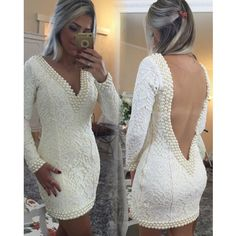 Short Sheath V-Neck Lace Homecoming Dresses Long Sleeves Backless Cocktail Dresses_Homecoming Dresses_Special Occasion Dresses_Buy High Quality Dresses from Dress Factory - Babyonlinedress.com