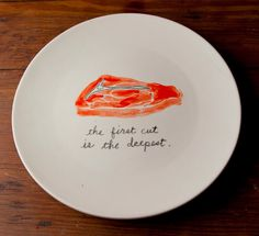 """""""The First Cut Is The Deepest"""" Plate by Young Alexander Hand Painted Plates, Fashion Plates, Kitchen Dining, Dinnerware, Dishes, Tableware, Sheryl Crow, Objects, Bowls"""