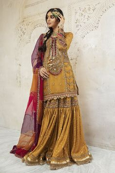 Maria B, More And Less, Mustard Yellow, Kurti, Pure Products, Couture, Bridal, Stuff To Buy, Dresses