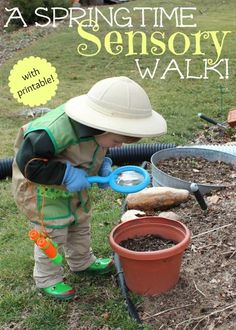 {A Springtime Sensory Walk for Kids} Check out the exploratory printable!