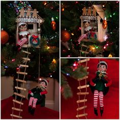 Elf on the Shelf Ideas. The elves made their very own Christmas Treehouse complete with a working lamp, tire swing, and ladder.  To view more pins like this one, search for Pinterest user amywelsh18.