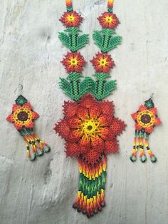 Mexican Huichol Flower Necklace With Earrings Included   | eBay
