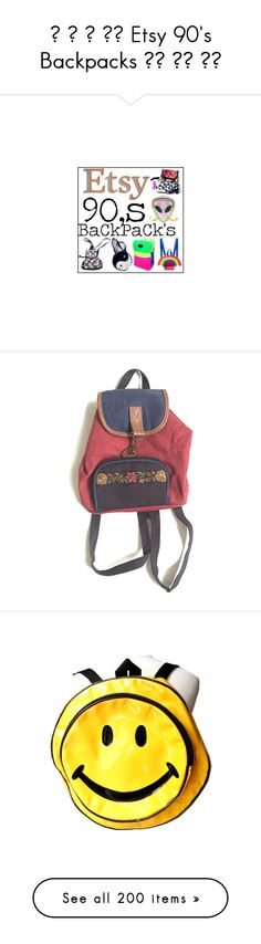 """""""✿ ★ ✿ ★✿ Etsy 90's Backpacks ✿★ ✿★ ✿★"""" by virtual-closet-collector ❤ liked on Polyvore featuring bags, backpacks, piping bag, handle bag, yellow backpack, knapsack bags, backpacks bags, leather bags, vintage knapsack and beige bag"""