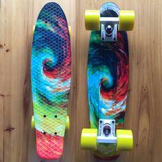 "Mini 22 Inch Cruiser Board Plastic Skateboard 22"" X 6"" Retro Longboard Skate Long Board Graphic Printed Twister"