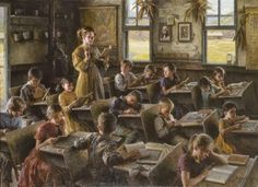 Country Schoolhouse, 1879 by Morgan Weistling is a fine art limited edition giclee canvas published by Greenwich Workshops from a Morgan Weistling Original painting. Texas Art Depot is the Morgan Weistling Gallery in East Texas School Daze, Art School, School Teacher, Morgan Weistling, Country School, Old School House, Mary Cassatt, Vintage School, Vintage Farm