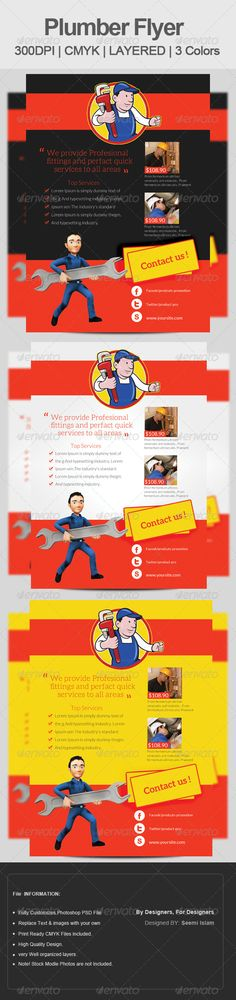 Plumber & Repairing Flyer Template  .This image is available on GraphicRiver.       Plumber & Repairing Flyer Template   Fully layered   PSD File   300 Dpi,   A4 Flyer (210×297 plus 3mm bleeds total 216×303)   CMYK Colours   Completely editable,   Print Ready   Text/Font or Colour can be altered as needed   image source: Photodune   Photos are not included in the file.   image links are provided in the main file.   Fonts:  www.fontsquirrel /fonts/lato  www.fontsquirrel…