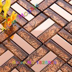 Cobre matel de la mezcla marrones color cristal de diseño de interiores baño panel de pared