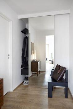 Mens Minimalist Fashion - My Minimalist Living Hall Wardrobe, Mirrored Wardrobe, Sliding Glass Door, Sliding Doors, Diy King Headboard, Grey Interior Doors, Room Interior, Black French Doors, Hall Mirrors