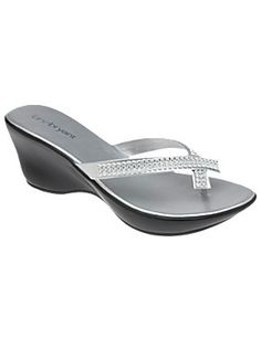Rhinestone studded sandals with a contoured wedge heel dazzle right down to your toes. Cushioned instep, great arch support and wide width make them as comfortable as they are beautiful.  lanebryant.com