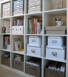 Craft Room storage with IKEA Expedit shelves. Bookcase Organization, Home Office Organization, Craft Organization, Office Decor, Craft Storage, Organized Office, Office Ideas, Office Storage Ideas, Paper Storage