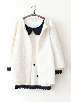 Blue Plain Round Neck Cotton Blend Padded Coat