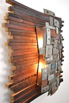 Recycled Napa Barrels Art Wall Light - Wall Lamps & Sconces - Modern and chic yet wonderfully rustic. Completely made from retired Napa wine barrel staves, rings and stylishly sexy. Each one is handmade to order. The front piece is made from dozens of barrel rings cut into small pieces then carefully welded. together to make a shield that reflects the... #Concept #Design #Farmhouse #Handmade #Huge #Metal #Recycled #Wood