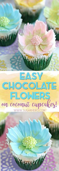 Looking for a cute spring dessert? These Easy Chocolate Flower Cupcakes are simple, fun, and perfect for birthdays and showers! The edible chocolate flowers on top are beautiful, and SO easy to make!   From SugarHero.com #SugarHero #chocolateflowers #flowercupcakes #springdesserts #springcupcakes #cakedecorating