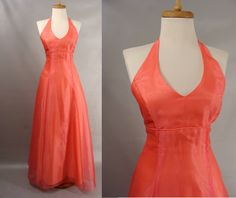 $42.00 Blank Slate as-is. Peach Melon Halter Corset Back Prom Dress OR Customizable Zombie Prom Queen Halloween Costume. OPTIONAL BLOOD. size by wardrobetheglobe on Etsy