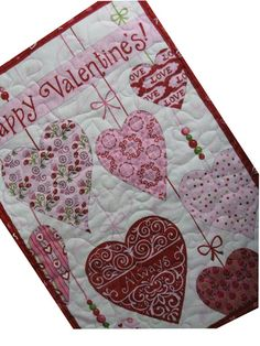 Quilted Happy Valentine Wall Hanging or Table by Sieberdesigns,