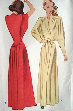 1940s GLAMOROUS Negligee House Coat Robe Lounging Hostess Gown Pattern McCall 7035 Bust 34 Pure Flattery Film Noir Style Vintage Sewing Pattern