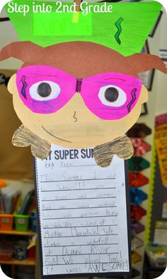 Add to Super kid bulletin board except write I have these super powers...and list I can goals they achieve during the year. Superhero writing