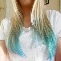 Dip dye ombre directions blonde turquoise hair hair ideas в 2019 г. Blue Tips Hair, Hair Dye Tips, Colored Hair Tips, Dye Hair, Turquoise Hair, Teal Hair, Ombre Hair, Teal Ombre, Silver Hair