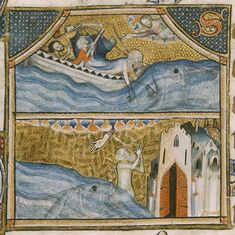 Detail of a miniature in two registers, showing Jonah being thrown into the sea (above) and Jonah being saved from the whale's mouth (below), from the St Omer Psalter, England (Norfolk), c. 1330-c. 1440, Yates Thompson MS 14, f. 70v  - See more at: http://britishlibrary.typepad.co.uk/digitisedmanuscripts/2014/10/illuminated-manuscripts-conference-more-places-available.html#sthash.gsKtkwC5.dpuf