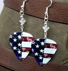 12 Fabulous Guitar Picks Medium Acoustic Guitar Picks With Cats Military Jewelry, Guitar Pick Jewelry, Clip On Earrings, Drop Earrings, Guitar Picks, American Flag, Swarovski Crystals, How To Memorize Things, Sterling Silver
