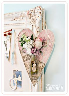 Heart wall hanging with flower vase