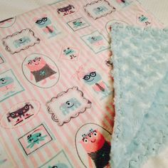 Glow in the Dark Girls Monster Baby Blanket by DailySnuggle on Etsy